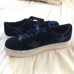 EUC Madden Girl Blue Velvet Sneakers